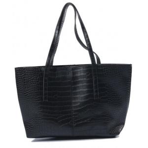 Croco print tas zwart.