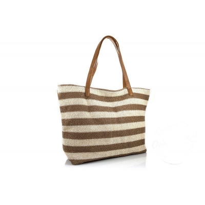 Camel / naturel gestreepte beach shopper San Miguel