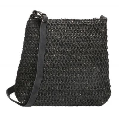 Rieten Natural Life schoudertasje zwart.