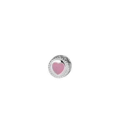 Bedel kraal rond met roze hartje.