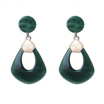 Biba oorbellen groot groen.