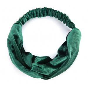 Velvet haarband groen.