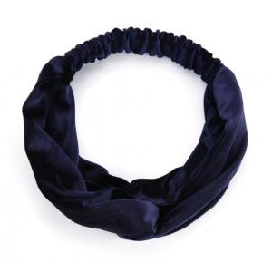 Velvet haarband donkerblauw.