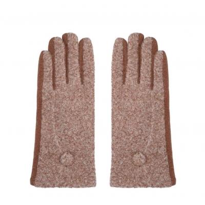 Handschoenen met knoopje bruin.