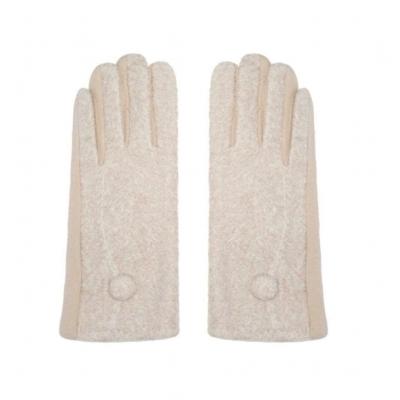Handschoenen met knoopje beige.