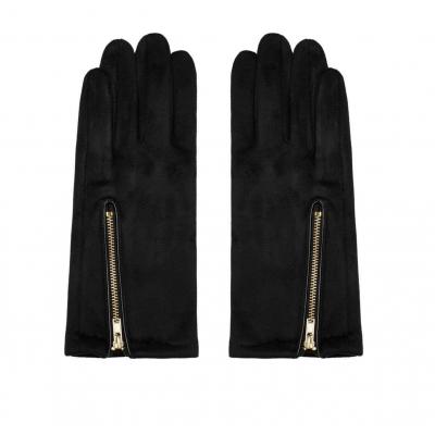 Handschoenen met ritsje zwart.