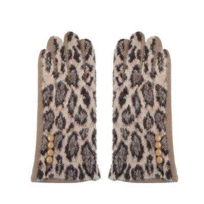Handschoenen panterprint beige.