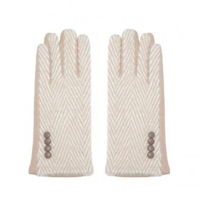 Handschoenen zigzag crème.