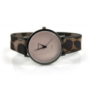 Horloge drukknoop panterprint taupe.