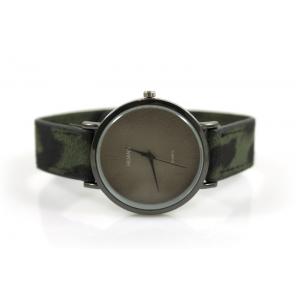 Horloge drukknoop panterprint groen.