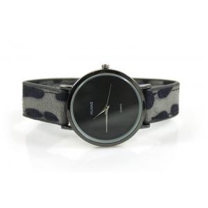 Horloge drukknoop panterprint grijs.