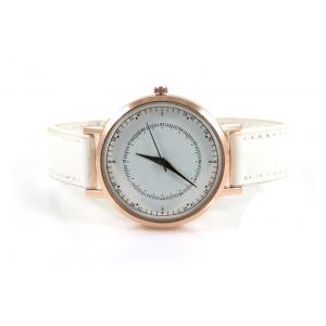 Horloge drukknoop wit met rosé.