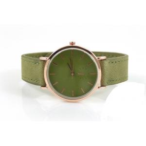Drukknoop horloge groen met rosé.