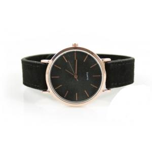 Drukknoop horloge zwart met rose.