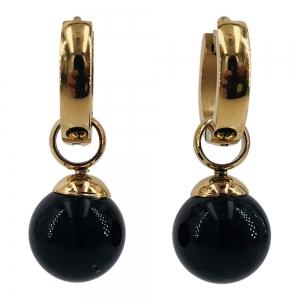 KalliKalli creolen parels zwart goud.