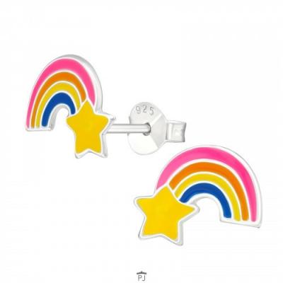 Oorknopjes regenboog met ster.