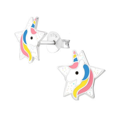 Oorknopjes ster met unicorn.
