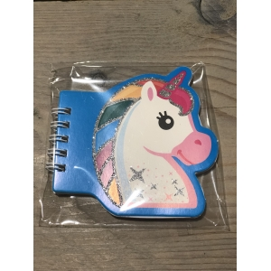 Notitieboekje Unicorn blauw.