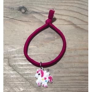 Unicorn elastisch armbandje fuchsia.