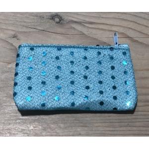 Portemonneetje blauw met glitter.