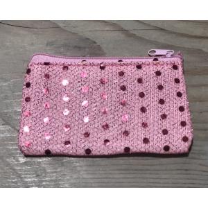 Portemonneetje roze met glitters.