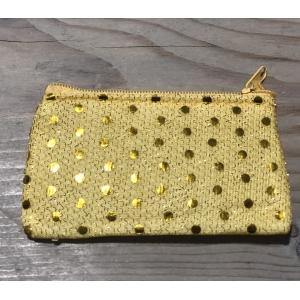 Portemoneetje geel met glitters.