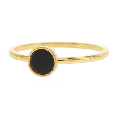 KalliKalli ring zwart steen goud.