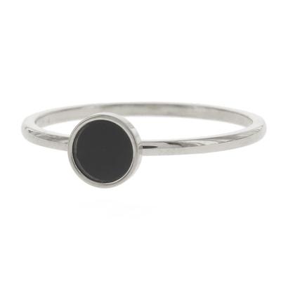 KalliKalli ring zwart steen zilver.