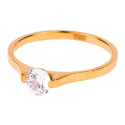 KalliKalli pink ring met steentje goud.