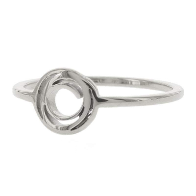 KalliKalli pink ring open rondje zilver.