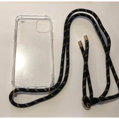Telefoonhoesje met koord IPhone 11 zwart/goud.