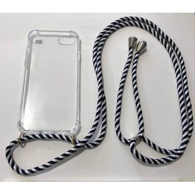 Telefoonhoesje met koord IPhone 6/7/8 zwart/wit.
