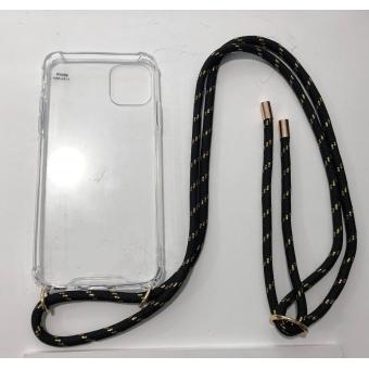 Telefoonhoesje met koord IPhone 11 Pro Max zwart/ goud.