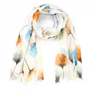 Sjaal bloemen beige/wit.