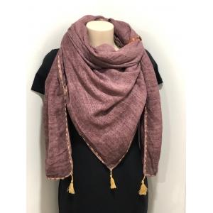 Sjaal met kwastjes paars.