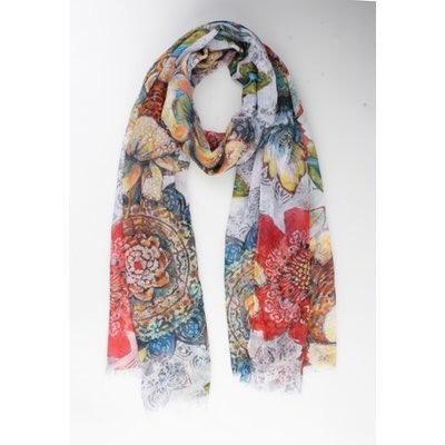 Sjaal bloemen wit.