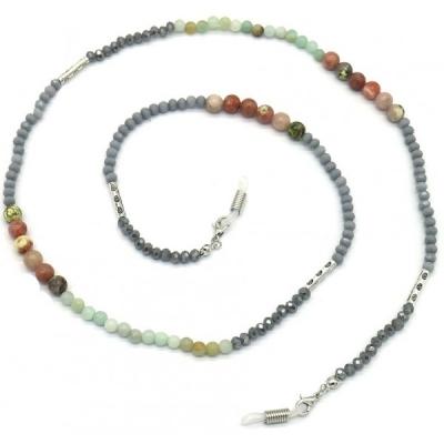 Zonnebril koord Glassbeads and Semi precious stones.